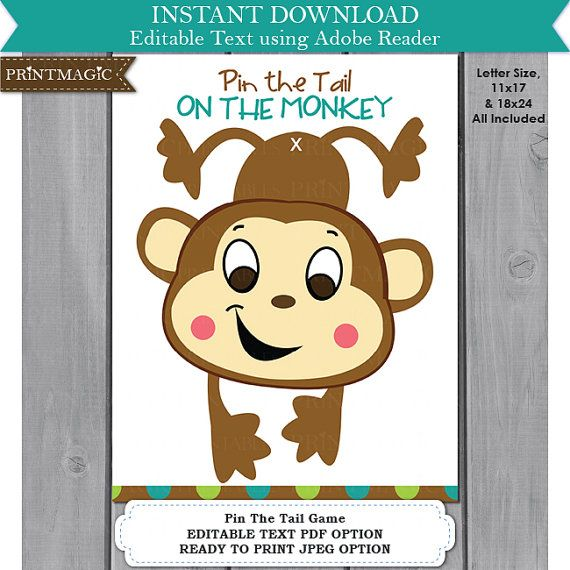Pin the Tail On the Monkey Printable Party Game - Instant Download - Editable Text - Monkey Party Game - Jungle Party Game- Jungle Birthday
