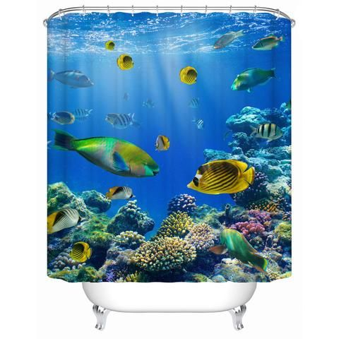 Vibrant Under Sea with Tropical Fish Shower Curtain