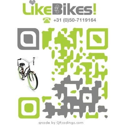 LikeBikes is een online shop die kwaliteits elektrische fietsen aannbied. U kunt er unieke fietsen vinden maar ook fiets accessoires om uw fiets te pimpen. In de QR code zijn de kleuren grijs en groen verwerkt, de hoeken van de code zijn verschillend.