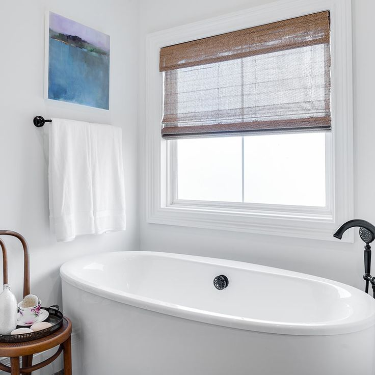 Ideal Bathroom For Relaxation. Featuring Woven Wood Shades From  SelectBlinds.com