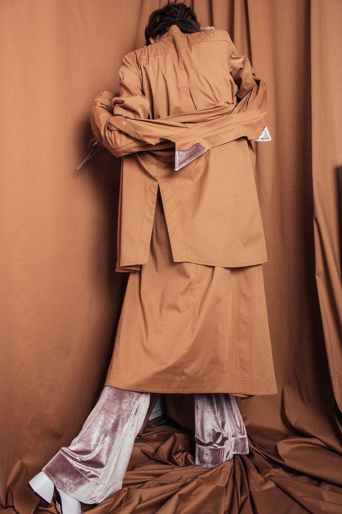Constantine/Renakossy | rhéō 17 | LONG SHIRT-DRESS + OCHRE TRUMPET SLEEVE SHIRT + VELVET FLARES |