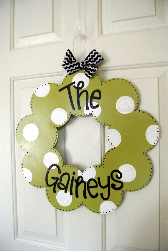 Personalized Polka Dot Family Wood Wreath - cute signs - polka dot signs - wedding gifts - family name signs