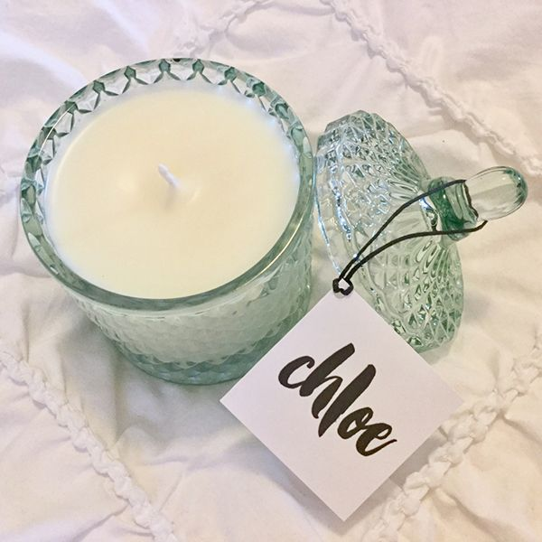 Sea Green Geometric Candle - An exquisite diamond cut geometric glass candle jar with matching domed lid to add a touch of luxe and glamour to your space. All candles are: 100% Vegan & Cruelty free. Contain no GMOs, Paraffin or Phthalates.