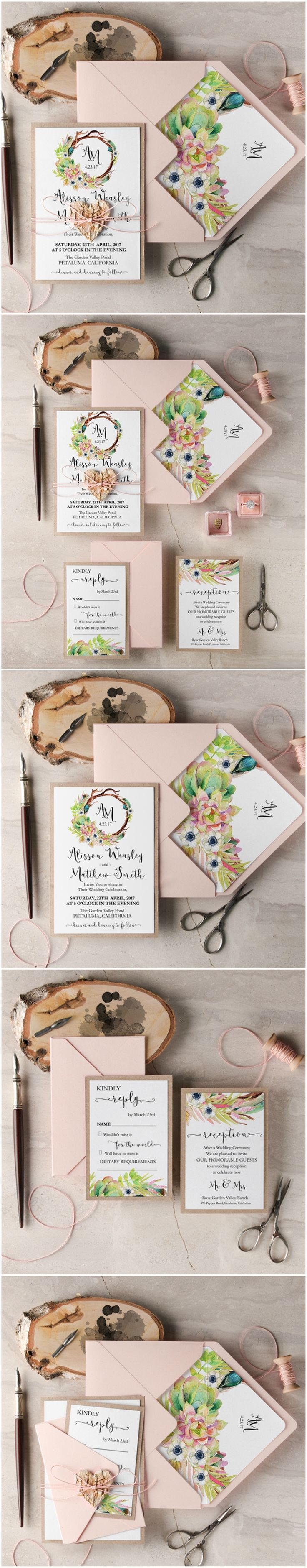 Succulent Wedding invitationgoes with theme 4044 best