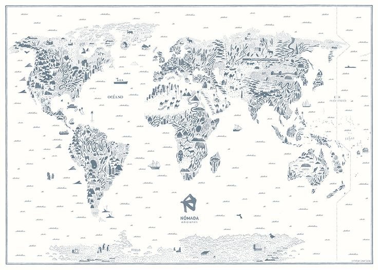 Nómada´s World Map with no political borders. Illustrated by Samuel Castaño. You can get it through this campaign: http://idea.me/proyectos/23260/beloved-future