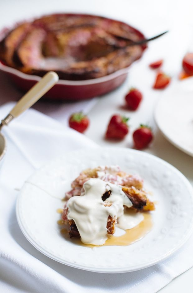 Strawberries and cream cheese bread pudding