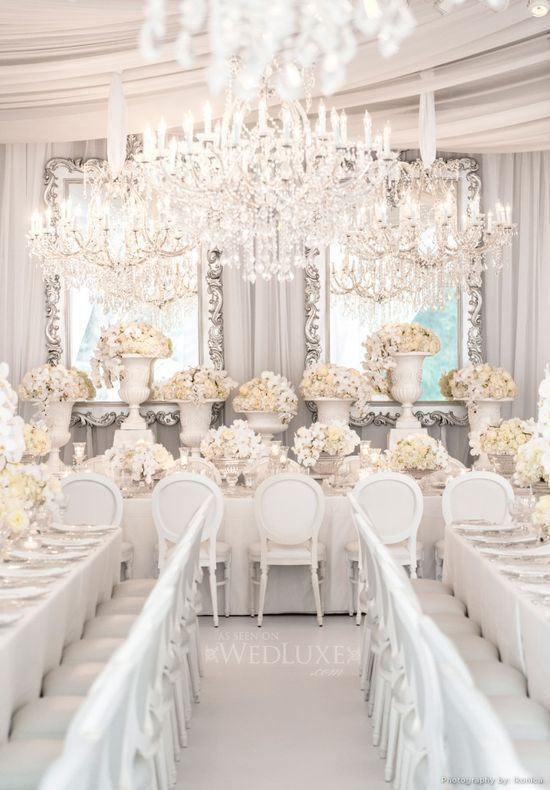 Indian Weddings Inspirations. White Tablescape Decor. Repinned by #indianweddingsmag indianweddingsmag.com