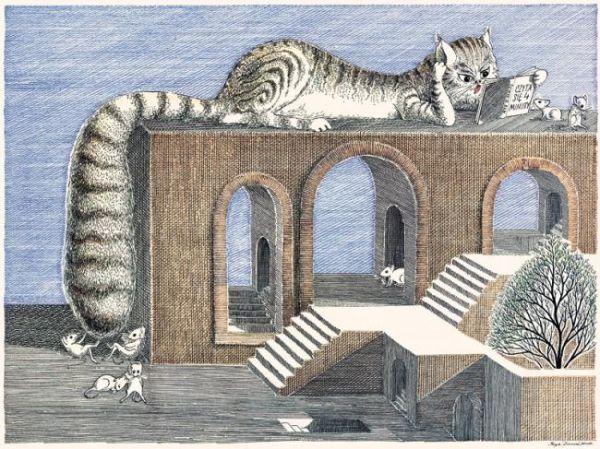 """Daniel Mróz, ilustracja - """"koty"""""""