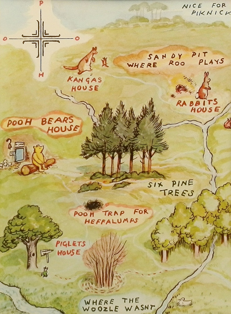 Map to Winnie the Poohs House, Vintage & Classic Map, Kids Wall Art (1 in a Series of 10). $10.00, via Etsy.