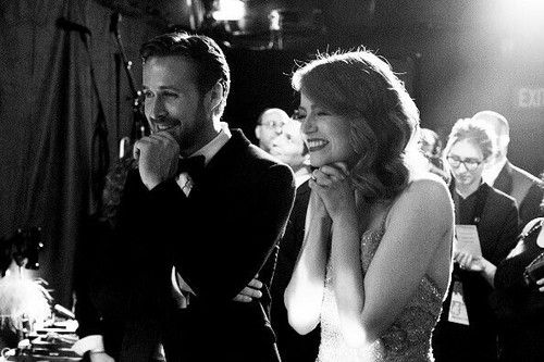 emma stone, oscar, and ryan gosling image