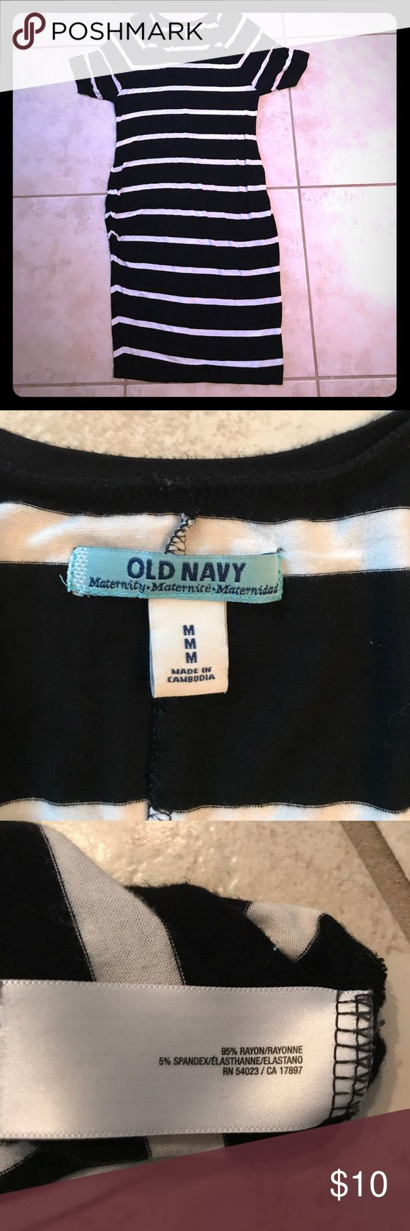 Black and white maternity dress. Old navy medium Black and white maternity dress. Old navy medium. Very soft, has stretchy rouching on the sides. Short sleeve. Hits just below the knee. Old Navy Dresses
