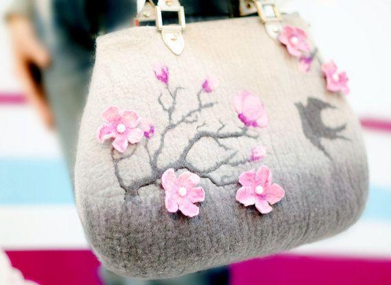 "Felted handbag ""The Cherry Tree Branch"" Wool Drawing Wet felted Spring Nice Gray Pink Handbag"