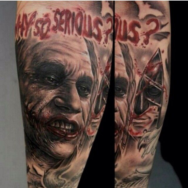 WHY SO SERIOUS? Joker Tattoo (via Fred_tattoo Instagram