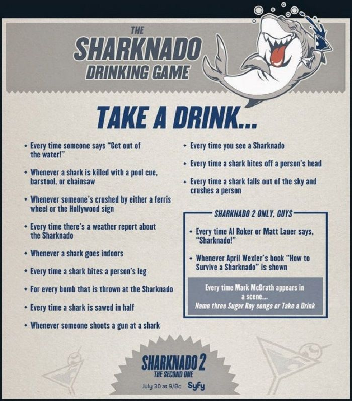 Check Out The Sharknado Drinking Game! http://techmash.co.uk/2014/07/30/check-out-the-sharknado-drinking-game/ #sharknado #sharknadodrinkinggame