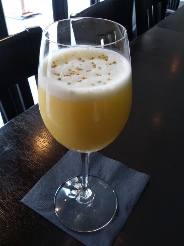 The Zumbido via @drink_smith at @empellon! Tequila Partida, @bulldoggin, @drambuie, whole egg, soda, oj & bee pollen!
