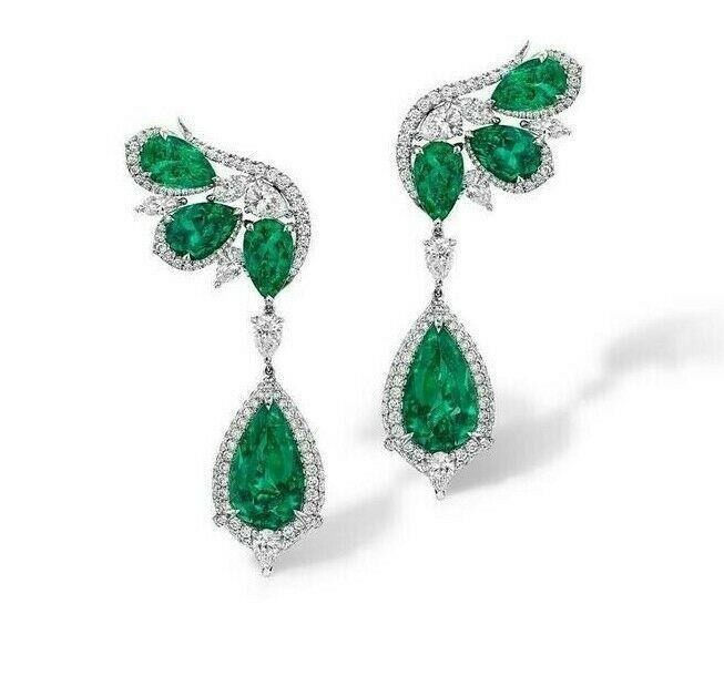 925 Solid Silver Fancy Shape Labradorite 9.0 Ct Dangle Earrings Ladies Jewelry