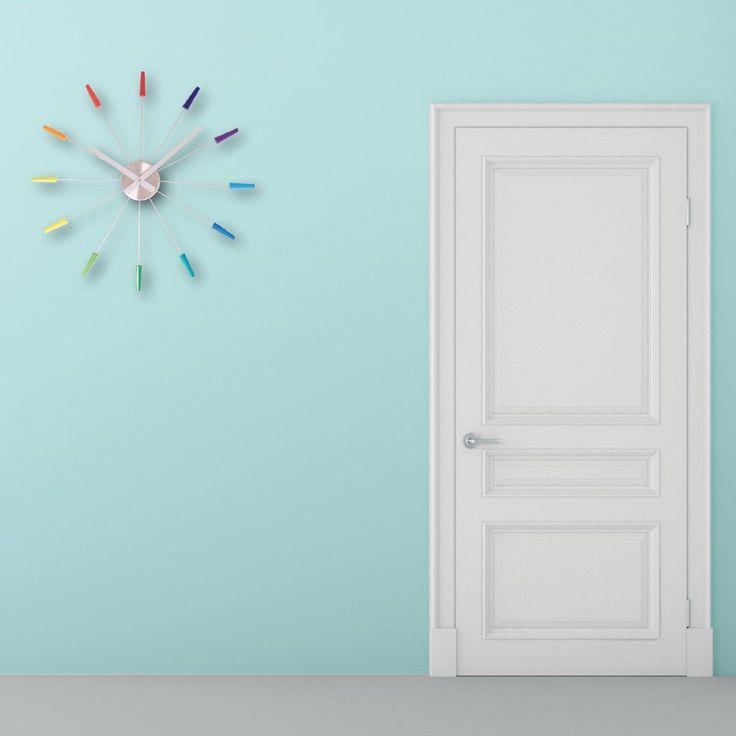 Nextime Plug Inn Clock Multi Colour - spoke wall clock