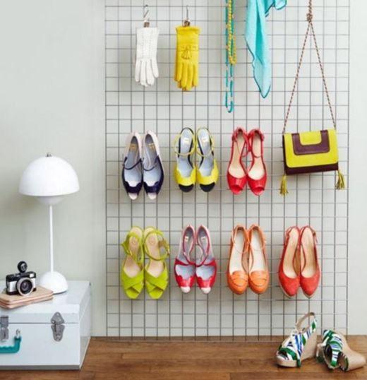 astuce pour ranger ses chaussures talons le grillage mural diy rangement pinterest. Black Bedroom Furniture Sets. Home Design Ideas