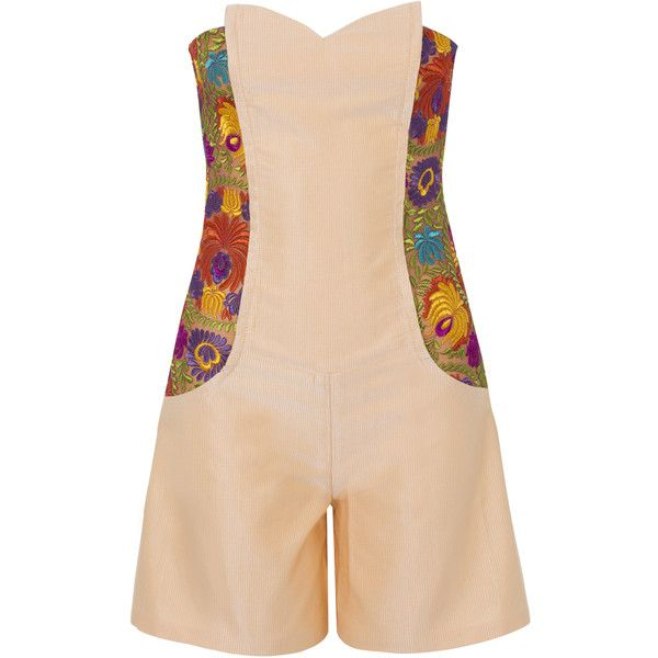 Funlayo Deri - Silk Faille Embroidered Strapless Playsuit ($625) ❤ liked on Polyvore featuring jumpsuits, rompers, shorts, beige jumpsuit, playsuit jumpsuit, strapless romper jumpsuit, strapless jumpsuit and summer rompers