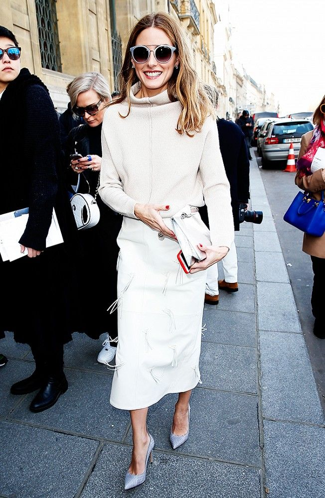 Winter whites look elegant as ever on Olivia Palermo out at Paris Fashion Week