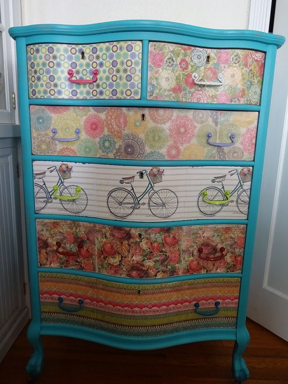 SHABBY CHIC BOHEMIAN ~ GYPSY~ HIPPIE DRESSER VINTAGE 1940S MULTI COLOR HAND PAINTED and mud pudge upcycled restore dresser DECORATE IN BOHO CHIC. SIX