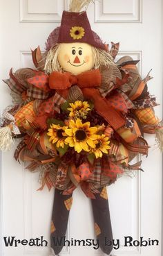 XL Fall Burlap Mesh Orange Yellow & Brown Scarecrow Wreath with Sunflowers, Fall Wreath, Fall Decor, Front Door Wreath by WreathWhimsybyRobin on Etsy