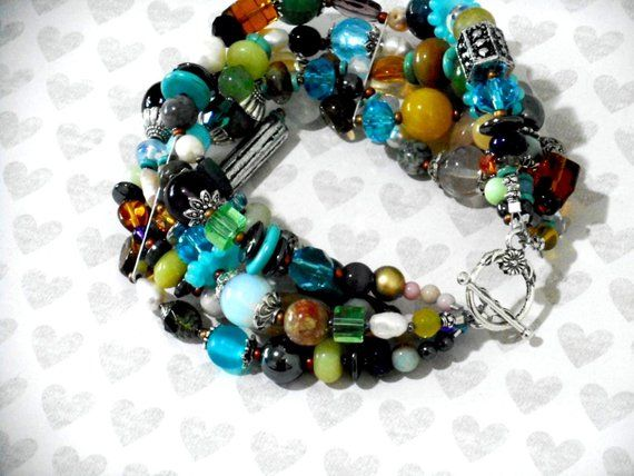 BOLD COLORFUL Multi Strand BRACELET Handcrafted Bohemian Five Strand Statement Bracelet 8.25 Inch Handmade Boho Beaded X  =