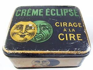 Ancienne boite en tôle litho cirage CREME ECLIPSE tin box dose