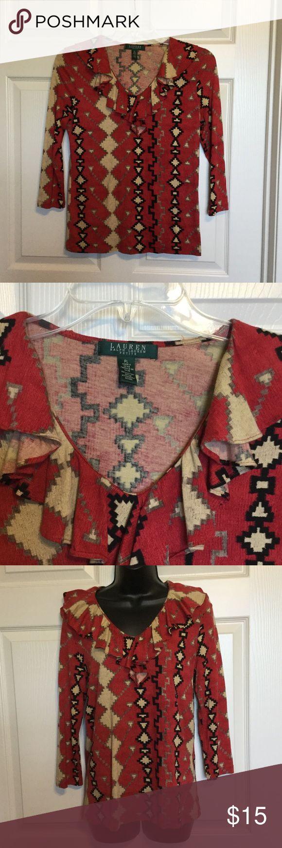 Ralph Lauren petite Blouse Beautiful tribal print Tops Tees - Long Sleeve