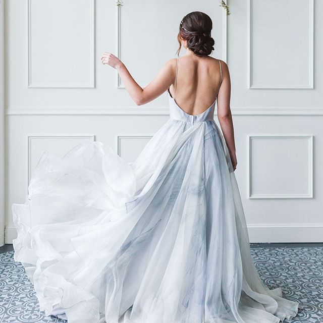 Absolutely Gorgeous Marbled Blue And White Wedding Dress