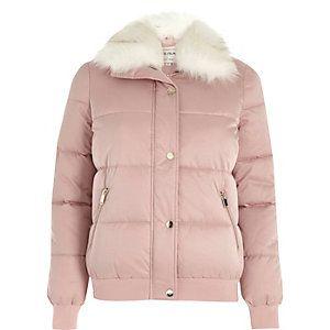 Pink faux fur trim puffer jacket