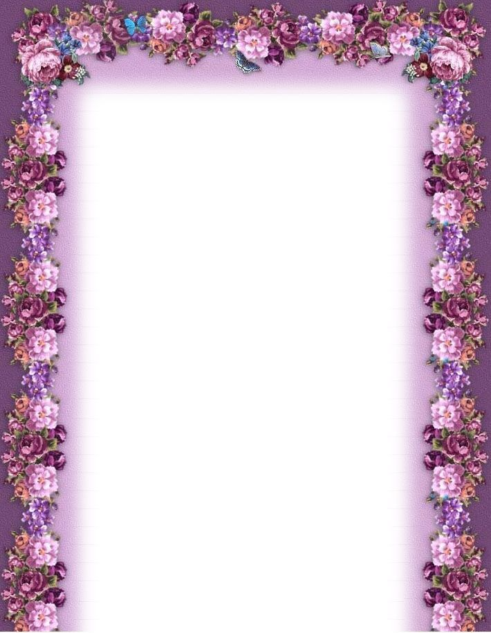 Purple Flower Borders and Frames music printable flower border