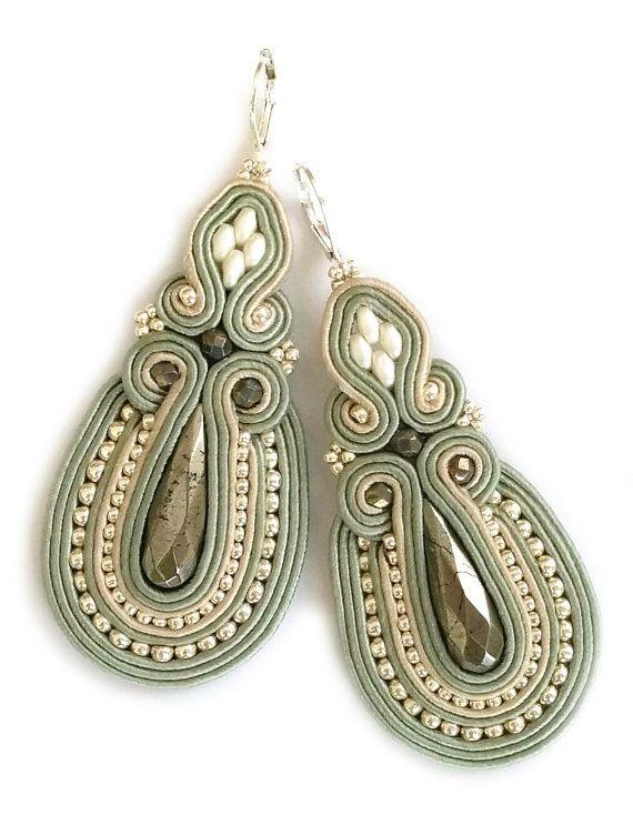 Statement earrings Soutache earrings Evening by SaboDesign