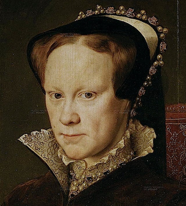 """Queen Mary I, 1516-1558; Mary was the only child of Henry VIII and Catherine of Aragon to live past infancy. Crowned after the death of Edward VI and the removal of The Nine Days Queen-Lady Jane Grey, Mary is chiefly remembered for temporarily and violently returning England to Catholicism. Many prominent Protestants were executed for their beliefs leading to the moniker """"Bloody Mary""""."""