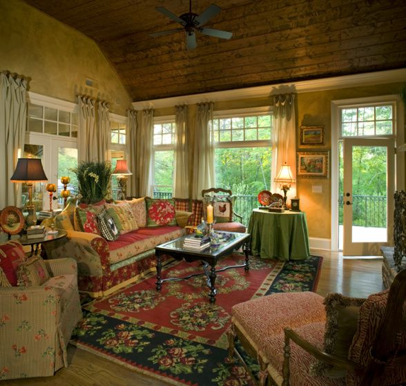 Cozy Country French And Comfortable Keeping Room Living Rooms Design