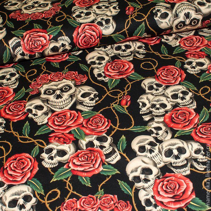 Купить Американский хлопок КАЛАВЕРА - черепа и розы - американские ткани, хлопок 100%, хлопок американский