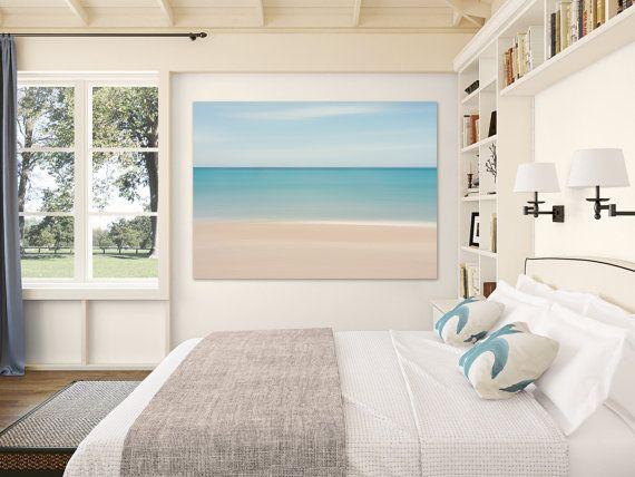 Beach Decor Canvas Gallery Wrap Abstract Ocean Photo Large Wall Art Caribbean Sea Living Room Bedroom Artwork Blue Teal Beige White
