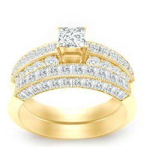 2.92 Carat Princess Diamond Engagement Ring Bridal Set on 18K Yellow Gold