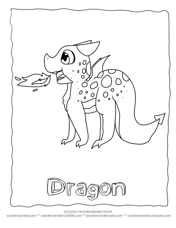 Cartoon Dragon Coloring Sheets At Wonderweirded Creatures