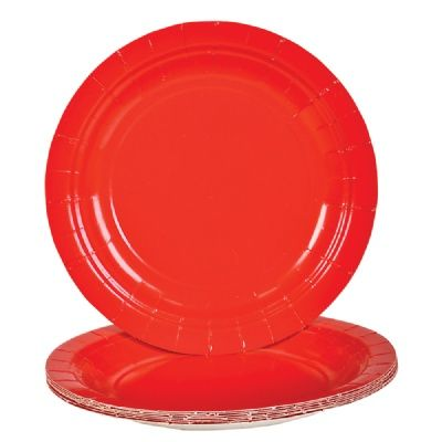 Red Paper Plates (Bulk Pack of 25 Plates) at theBIGzoo.com, a family-owned gift shop with 12,000+ animal-themed items.