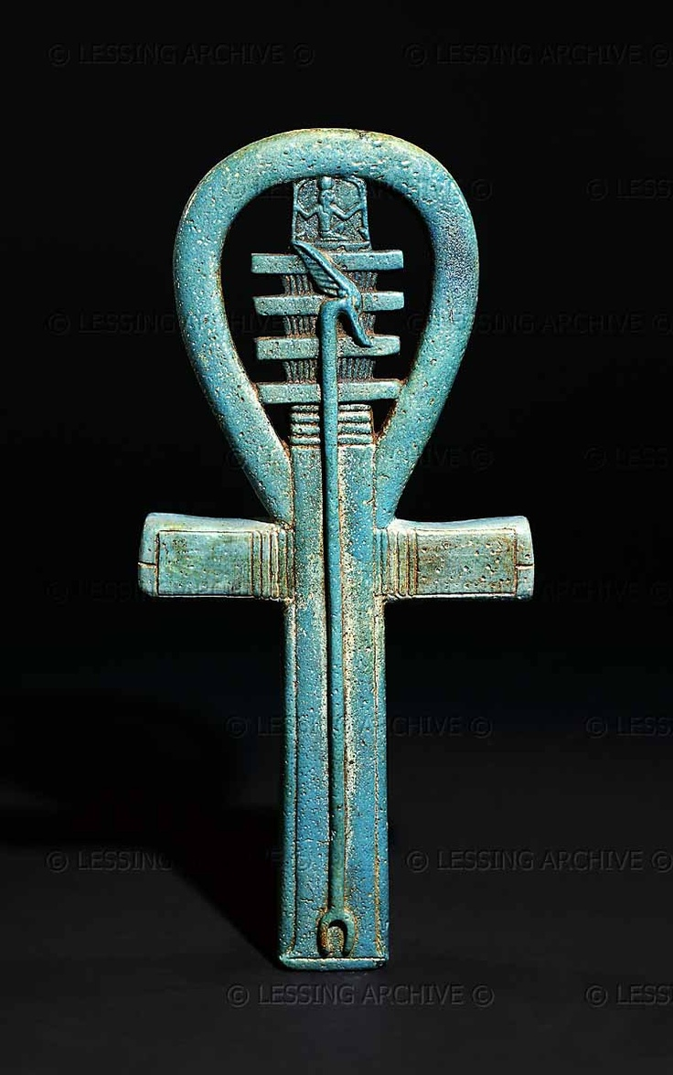 """EGYPT AMULET 2ND-1ST MILL.BCE ~   Faience amulet in the shape of an ankh, 25th dynasty to Late Period, about 700-500 BCE.The ankh (meaning """"life"""") is combined with the was-sceptre, the djed pillar,the heh and the hieroglyph for """"millions"""". It represents a wish, probably for the king, of """"life,power and stability for millions of years""""."""