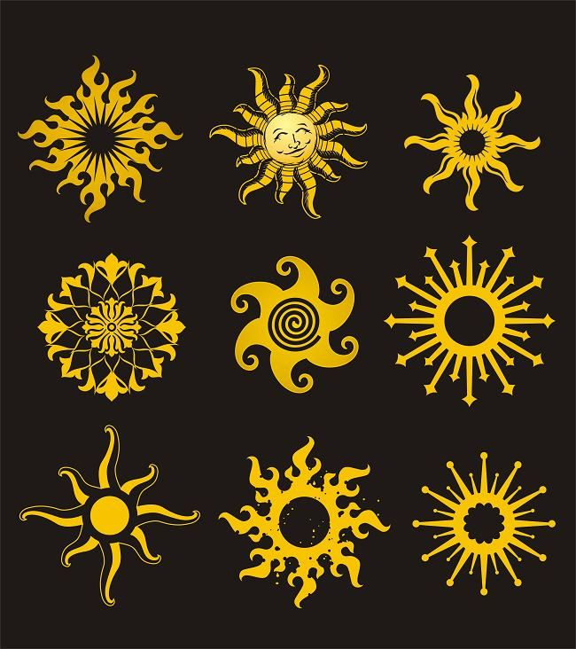 Here are some yellow sun designs
