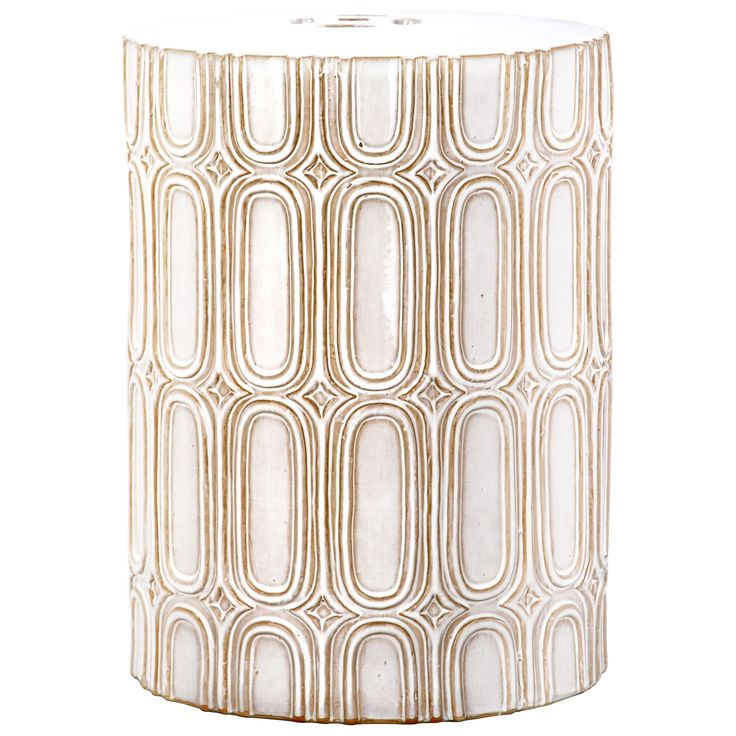 Pretty and practical, the cream-toned Melody indoor-outdoor garden stool adds transitional elan to any room or patio.