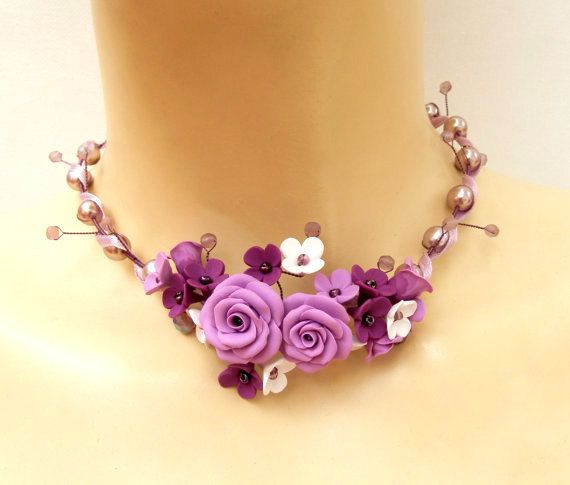 Wedding Jewelry, Purple Necklace, Flower Necklace, Statement Necklace, Gift For Her, Bride Necklace, Bridesmaid Gift, Purple Jewelry,Flowers