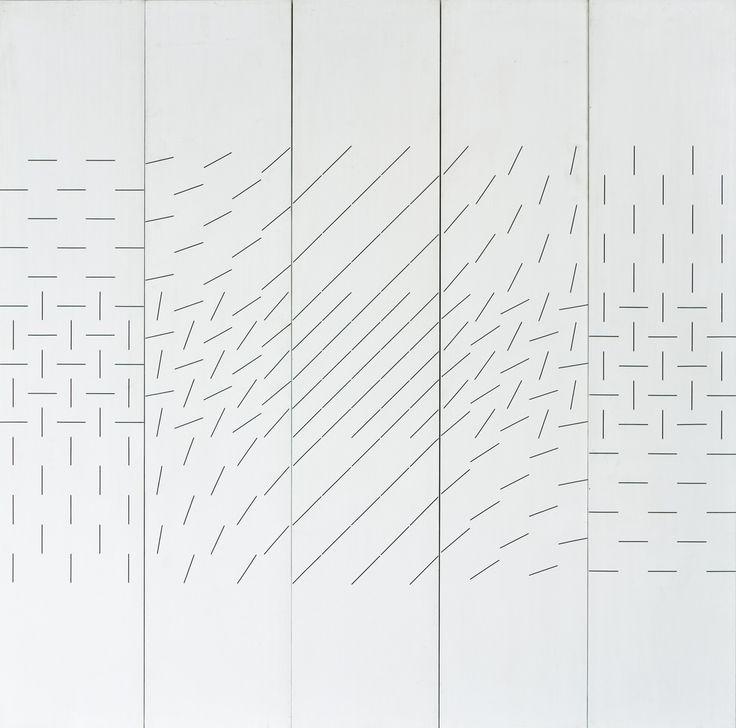 Matti Kujasalo: Kompositio, 1980, öljy, 126x(5x)25 cm - Hagelstam K136