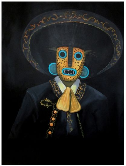 made by: Edgar Flores aka Saner , Painting (Spanish Don with animal Inca mask)