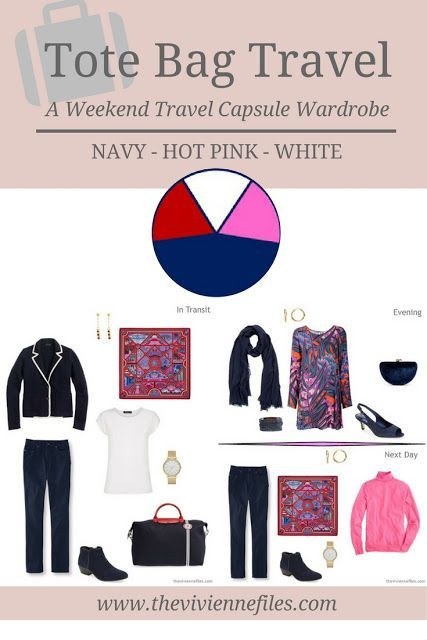 A weekend travel capsule wardrobe in a navy blue, hot pink, and white color palette