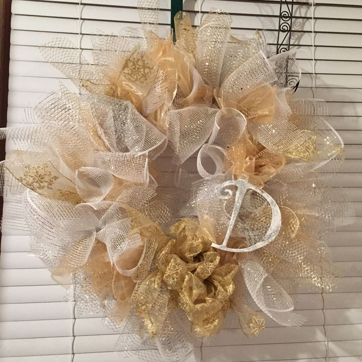 Gold silver and white deco Mesh wreath.