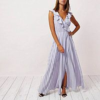 Woven fabric Stripe design Maxi length Wrap front style Frill front and back detail V neck Sleeveless Strappy lace-up back Concealed back zip fastening Premium Occasion products purchased online cannot be returned to store