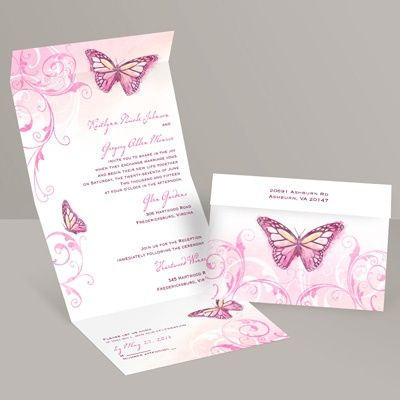 beautiful butterflies seal and send wedding invitation - fuchsia | spring wedding invites at Invitations By Dawn